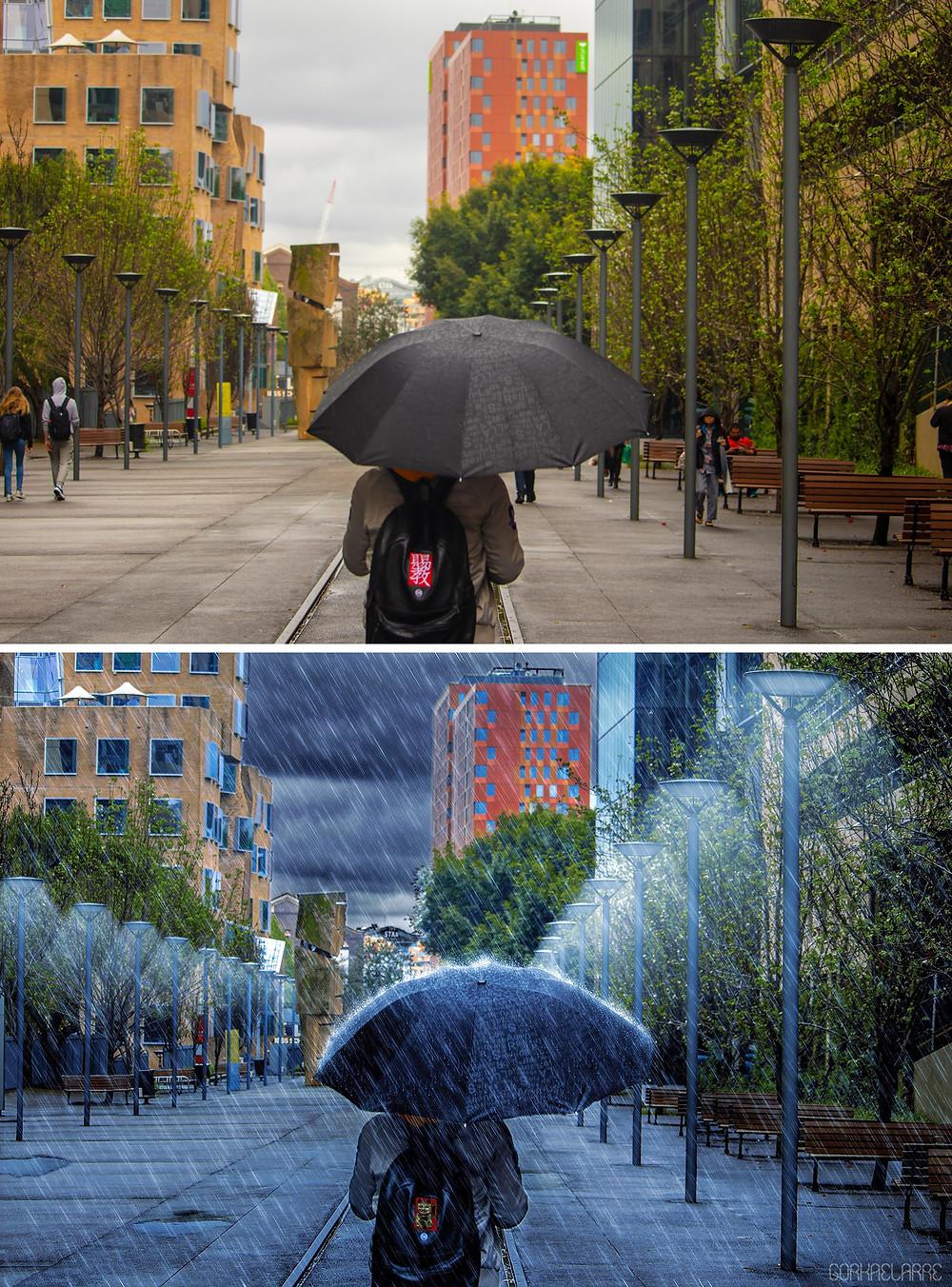 """Antes y después fotomontakje """"Tarde lluviosa"""" (Foto original: pixabay.com)"""