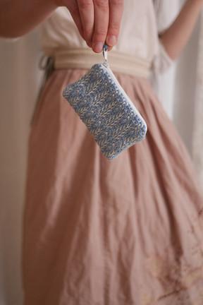 Mini Portemonnaie handgewebt blau