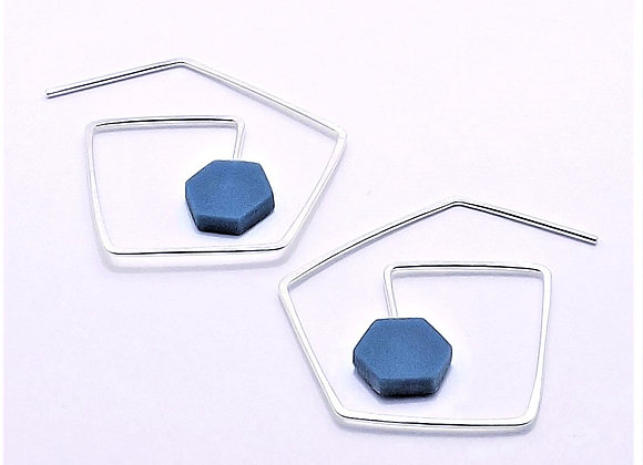 Abstract Impact Earring - Octagon