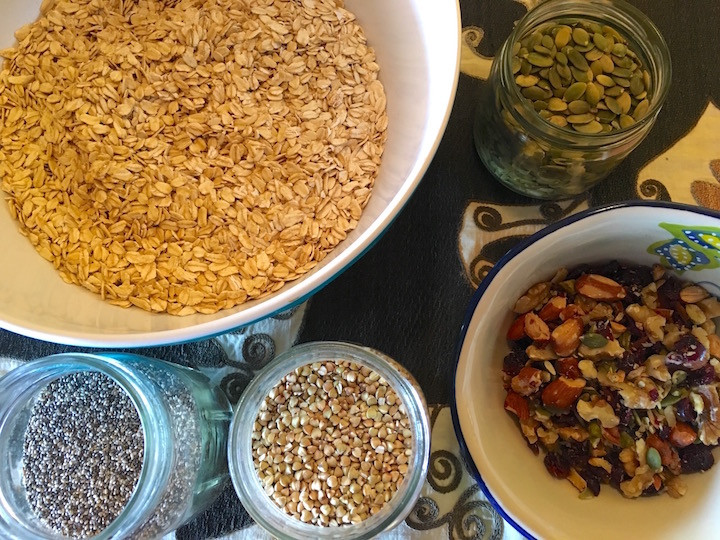Home made granola ingredients