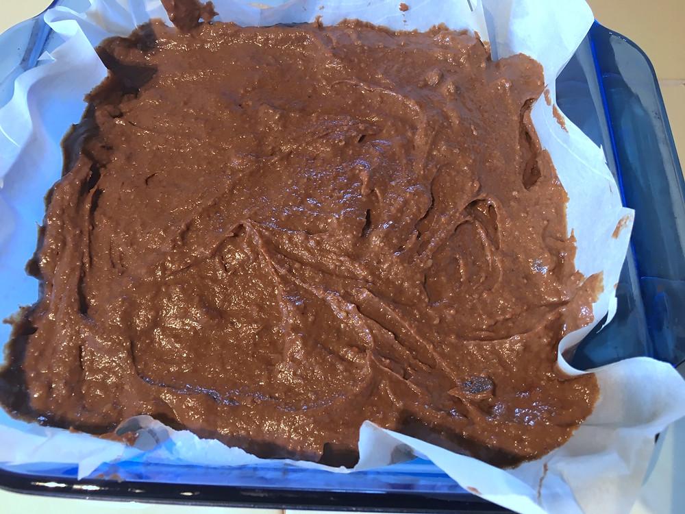 Brownie batter in the pan