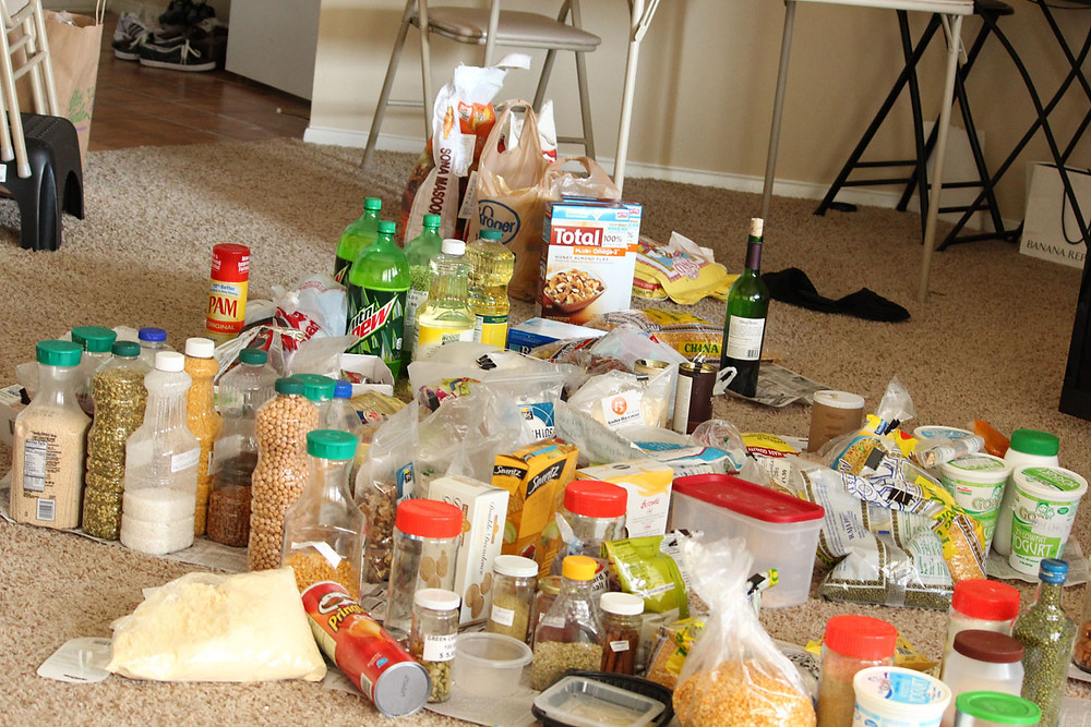 Foods from a messy pantry