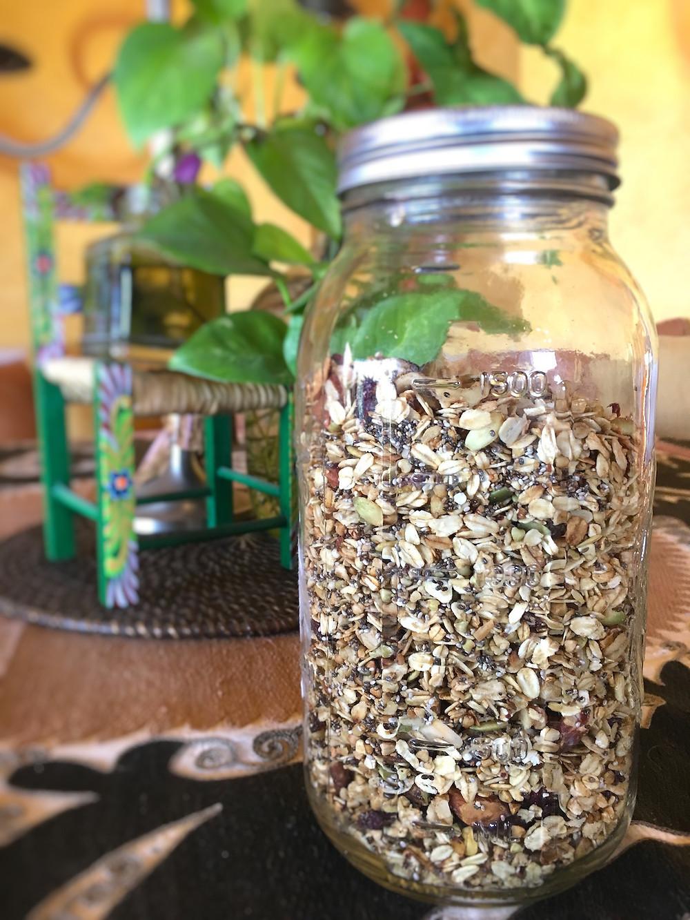 Home made granola in glass jar