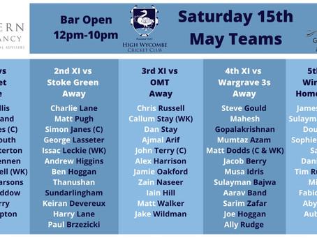 Saturday 15th May Fixtures