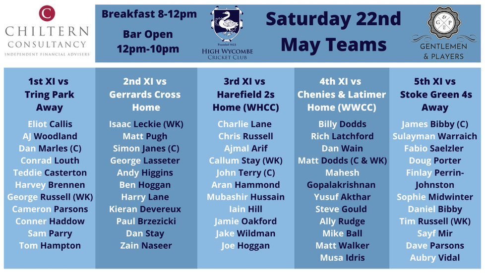 Saturday 22nd May Fixtures