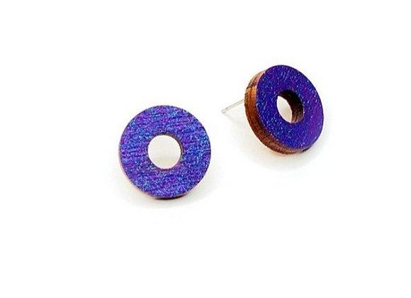 Náušnice kruhy fialová třpytivá