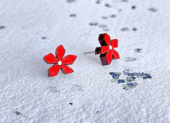 Květinové náušnice / červená