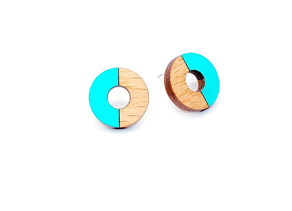 Náušnice kruhy dřevěná/tyrkysová