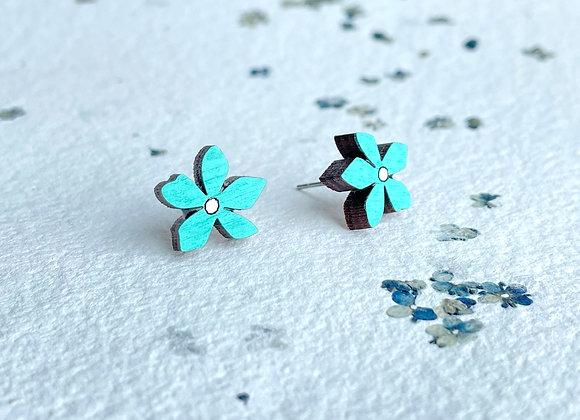 Květinové náušnice / tyrkysová