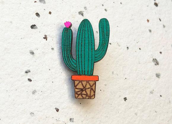 Dřevěná brož kaktus