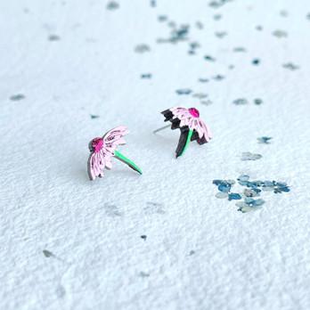 dřevěné náušnice kytičky echinacea (2).J