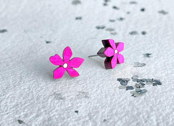 Květinové náušnice / neonová růžová