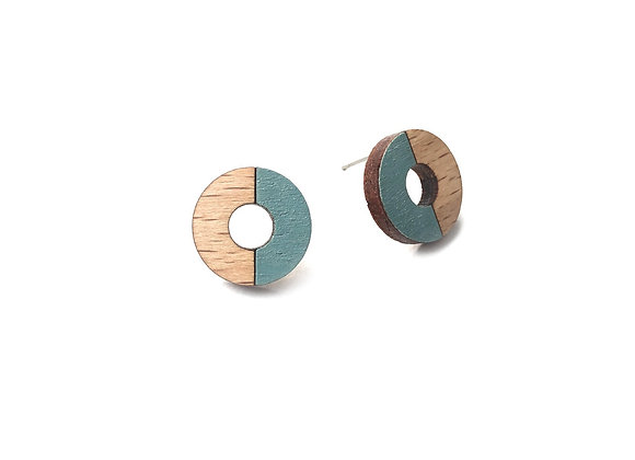 Náušnice kruhy dřevěná/šedomodrá