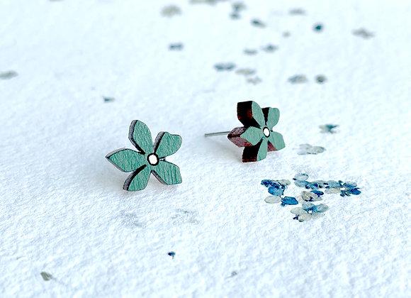 Květinové náušnice / tmavě zelená