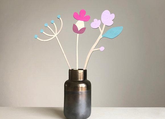 Sada dřevěných květin I.