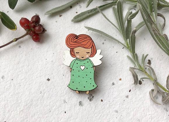 Dřevěná brož andílek / holčička