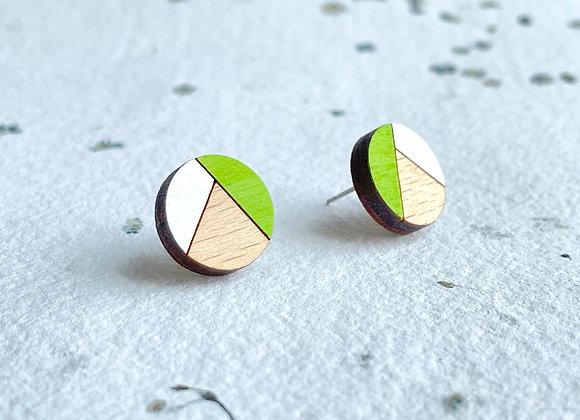 Dřevěné náušnice kulaté zelená/bílá