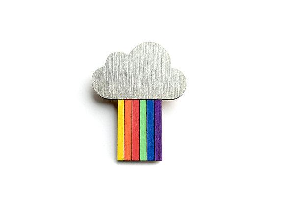 Dřevěná brož mrak s duhou stříbrný