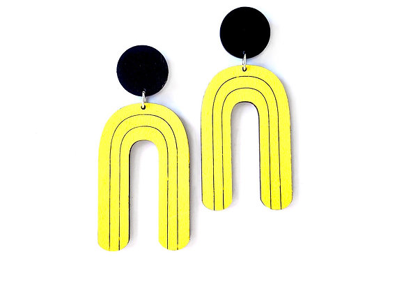 Náušnice visací černá/žlutá