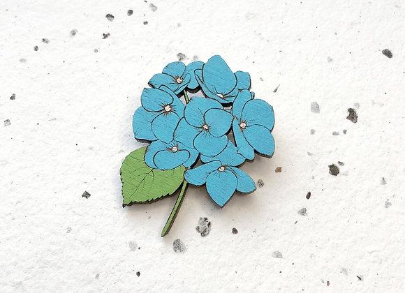 Dřevěná brož modrá hortenzie