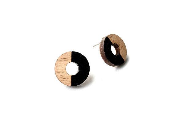 Náušnice kruhy dřevěná/černá