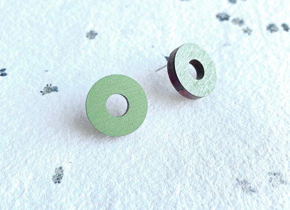 Dřevěné náušnice kruhy zelená