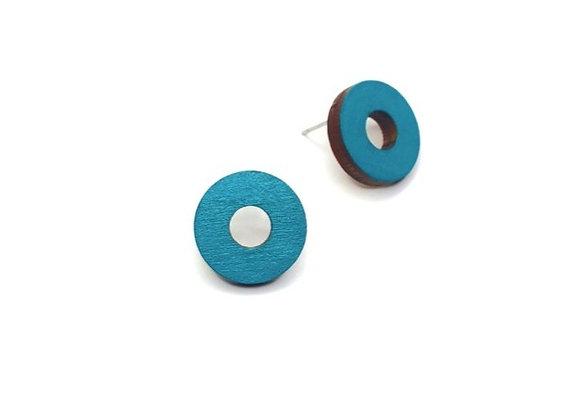 Náušnice kruhy paví modrá
