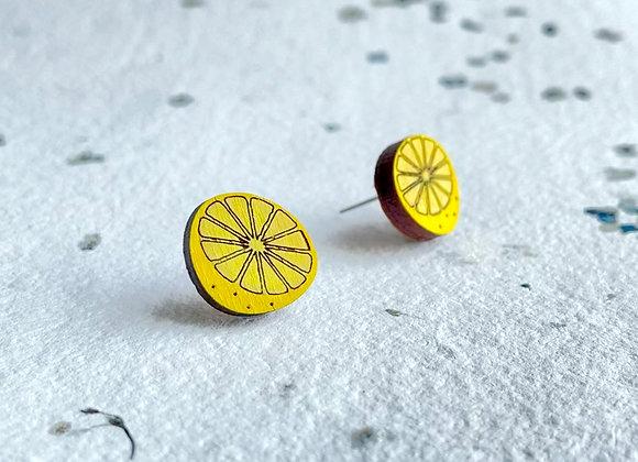Dřevěné náušnice citronky