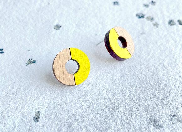 Dřevěné náušnice kruhy žlutá