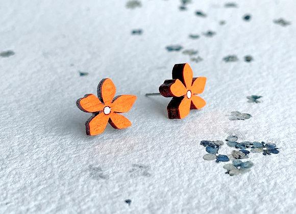 Květinové náušnice / neonová oranžová