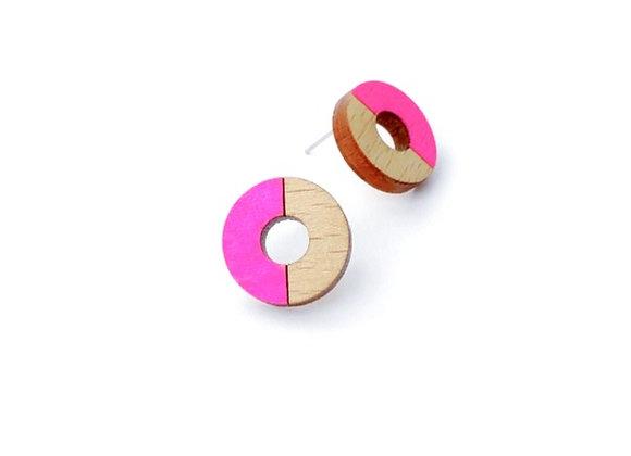 Náušnice kruhy dřevěná/neonová růžová
