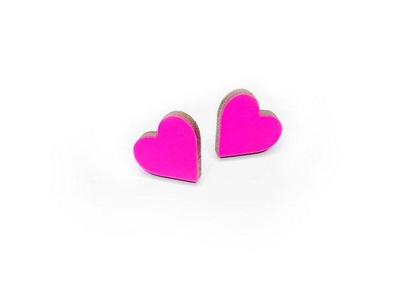 Náušnice srdce neon růžová
