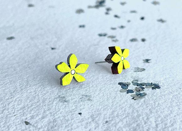 Květinové náušnice / neonová žlutá