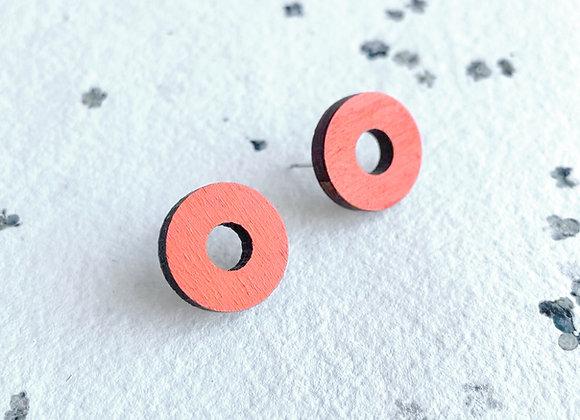Dřevěné náušnice kruhy oranžová