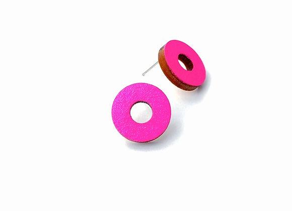 Náušnice kruhy neonová růžová