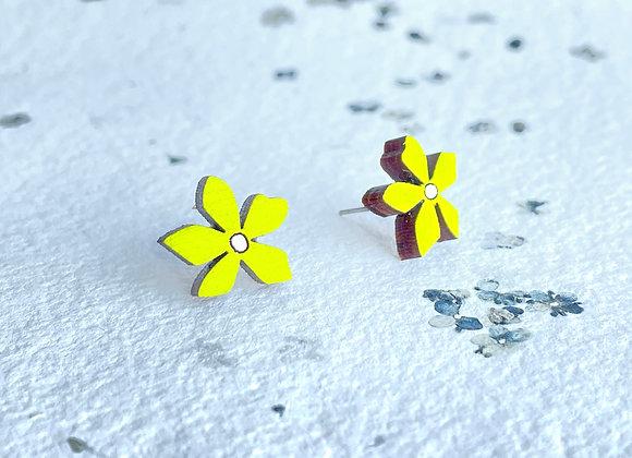 Květinové náušnice / žlutozelená