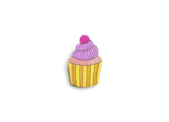 Dřevěná brož dortík / cupcake