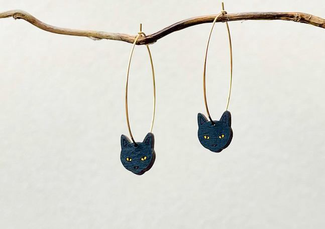 náušnice kočky na kroužku