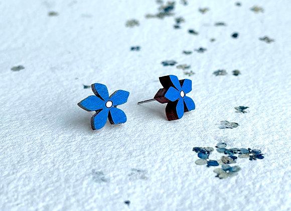 Květinové náušnice / tmavě modrá