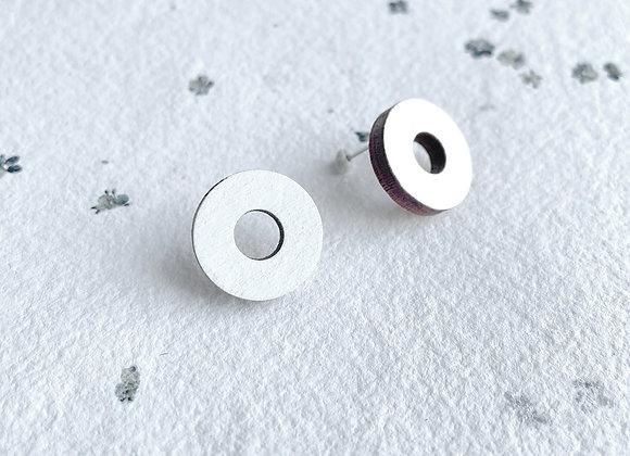 Dřevěné náušnice kruhy bílá
