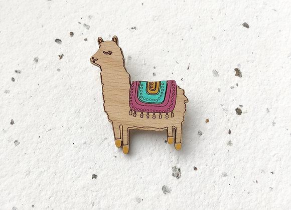 Dřevěná brož lama alpaka