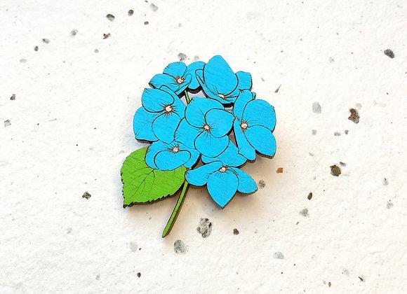 Brož modrá hortenzie