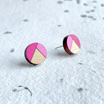 dřevěné náušnice kolečka růžoví.JPEG