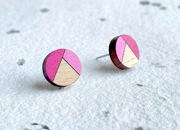 Dřevěné náušnice kulaté růžová/magenta