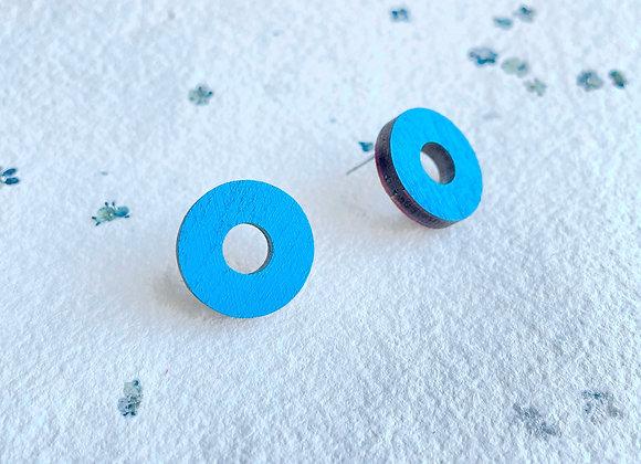 Dřevěné náušnice kruhy modrá