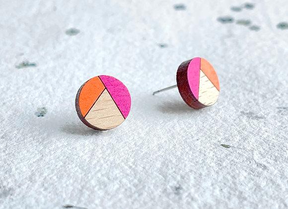 Dřevěné náušnice kulaté magenta/oranžová