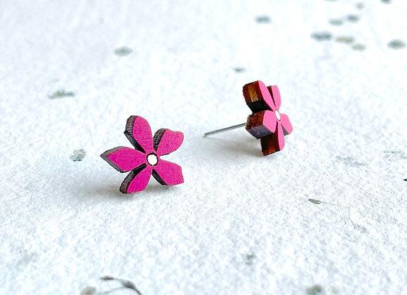 Květinové náušnice / magenta