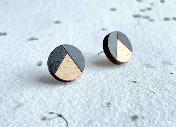 Dřevěné náušnice kulaté černá/šedá