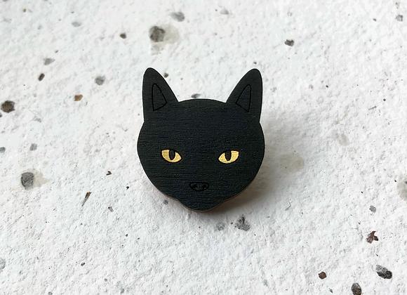 Dřevěná brož černá kočka