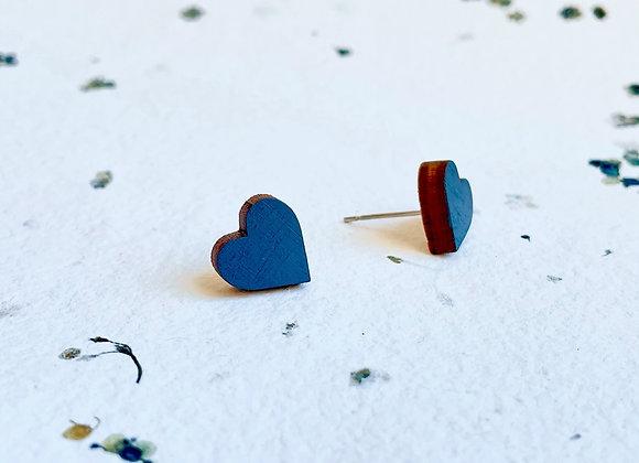 Dřevěné náušnice srdce